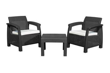 G21 Zahradní nábytek MOANA RELAX imitace ratanu, černý (2+1)