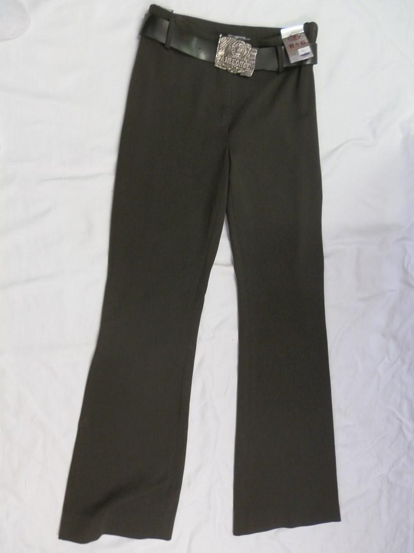 Khaki zelené elastické kalhoty s páskem S