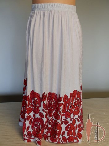 Bílá dámská sukně s červenou bodurou KÁTA 44