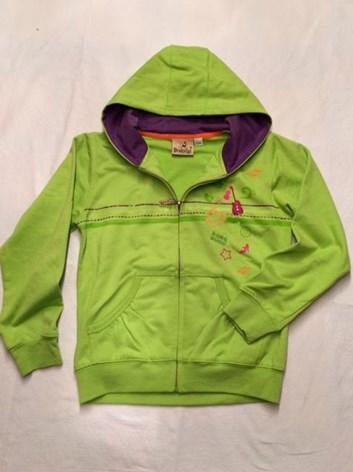 Zelená dívčí mikina s kapucí 128
