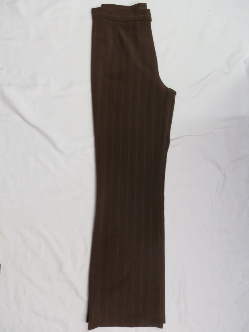 Hnědé pruhované kalhoty  vel. 36,38
