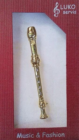 Luko-brož, flétna zobcová, pozlac., krystal