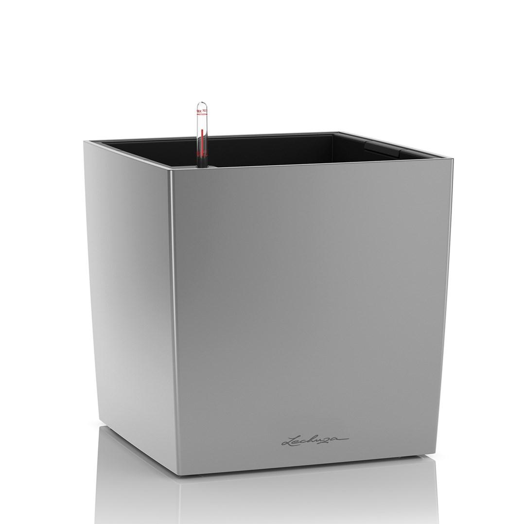 Lechuza Cube Premium 50 Silver Metallic