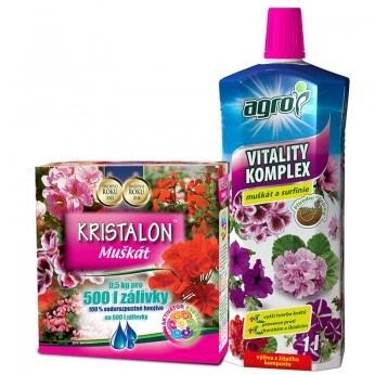 Kristalon Muškát 0,5 kg + AGRO Vitality Komplex Muškát a surfinie 1 L