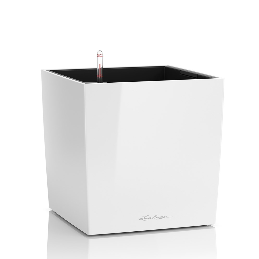 lechuza Cube Premium 4O White High Gloss