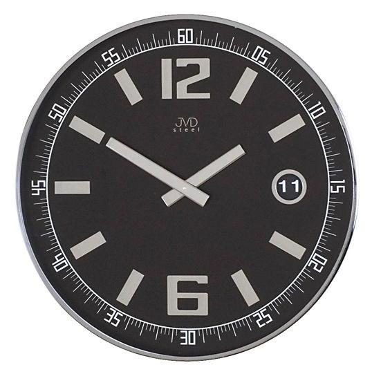 Luxusní nerezové nástěnné hodiny JVD steel HC01.2 - Černá