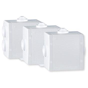 Rozvodná krabice 500V~ na povrch 80×80 IP54 3 vývodky bílá