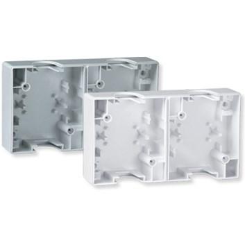 Dvojitá krabice pro instalaci spínačů a zásuvek bílá