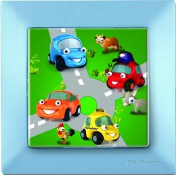 Dětský vypínač – autíčka modrá