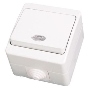 Vypínač č. 1 s podsvícením bílá Waterproof