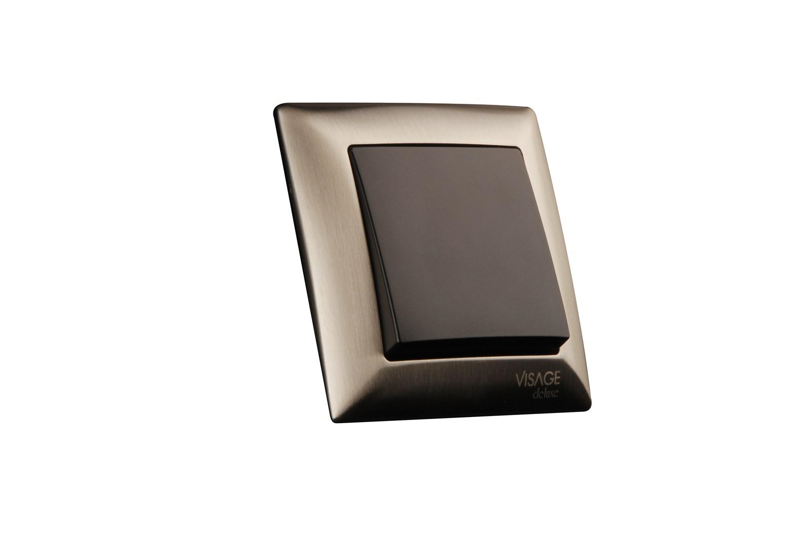 Vypínač č. 1,6,7 Visage deluxe, černý kryt+rám nerez ocel