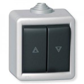 Tlačítko kovové na povrch na ovládání žaluzií 10AX 250V~ IP55