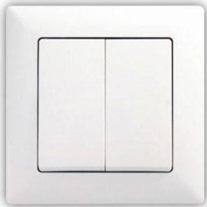 Dvojitý střídavý vypínač č. 5B (6+6) – Visage SIMPLE bílá
