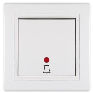 Tlačítko s orientačním osvětlením a piktogramem zvonek 10A 250V~