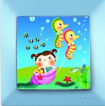 Dětský vypínač – mořský koník modrá