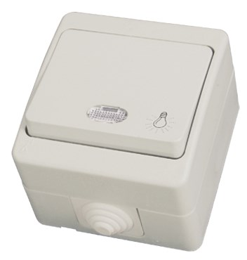 """Tlačítko """"světlo"""" s kontrolkou šedá Waterproof"""