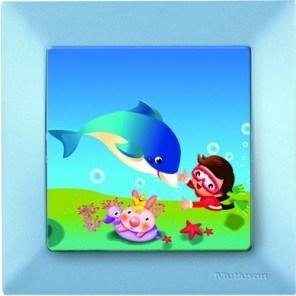 Dětský vypínač – delfín modrá