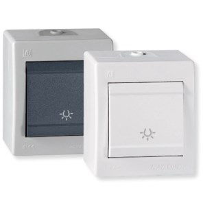 Tlačítko s piktogramem světlo na povrch 10AX 250V~ IP44 šedá