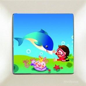 Dětský vypínač – delfín bílá