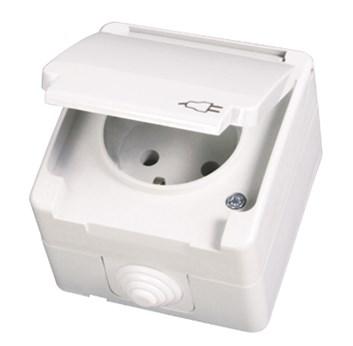 Zásuvka 2P s krytem a dětskou ochranou bílá Waterproof