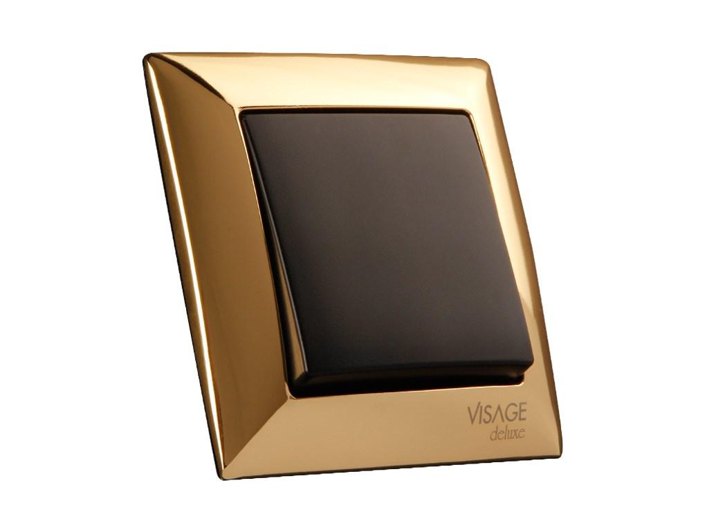 Vypínač č.1 Visage de luxe, černý kryt+zlatý rámek