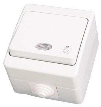 """Tlačítko """"světlo"""" s kontrolkou bílá Waterproof"""