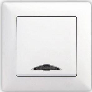 Vypínač č. 1 s kontrolkou - VIS SIMPLE bílá