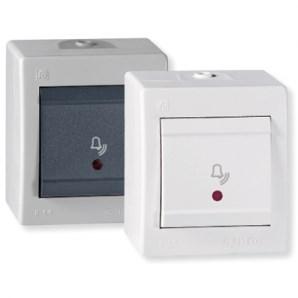 Zvonkové tlačítko s kontrolkou a piktogramem zvonku IP44 10AX