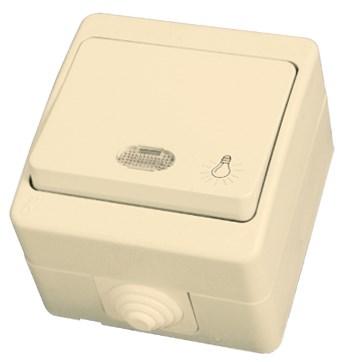 Tlačítko s piktogramem světla a kontrolkou béžové, voděodolné