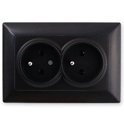 Dvojitá zásuvka 2x2P černá Visage Ambience