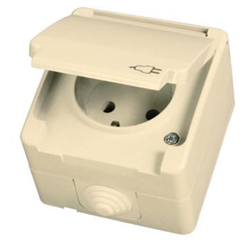 Zásuvka 2P s krytem a dětskou ochranou béžová Waterproof
