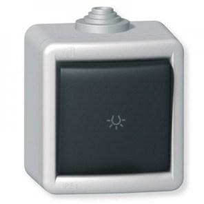 Tlačítko kovové na povrch s piktogramem světlo 10AX 250V~ IP55