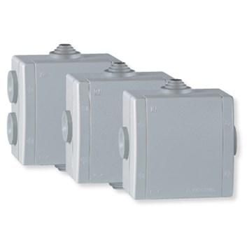 Rozvodná krabice 500V~ na povrch 80×80 IP54 3 vývodky šedá