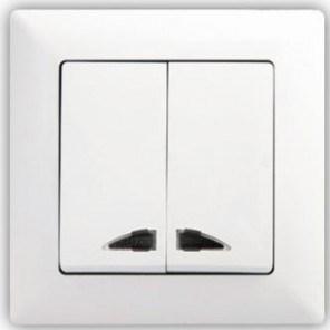 Lustrový vypínač č. 5 s podsvícením - Visage SIMPLE bílá