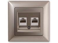 Dvojitá datová zásuvka Cat5e metalická béžová Visage Ambience