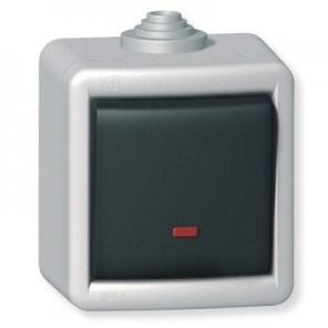 Jednopólový vypínač kovový na povrch s orient. osvět. 16AX 250V~ IP55