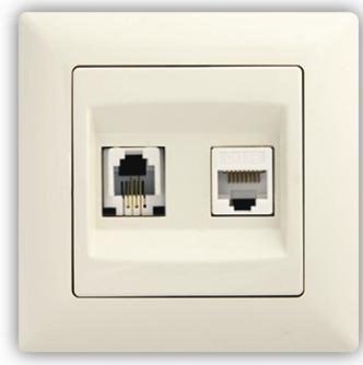 Datová + telefónní zásuvka (Cat5 + RJ11) – VISAGE Ivory
