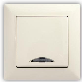 Schodišťový vypínač č. 6 s podsvícením VISAGE Ivory béžová