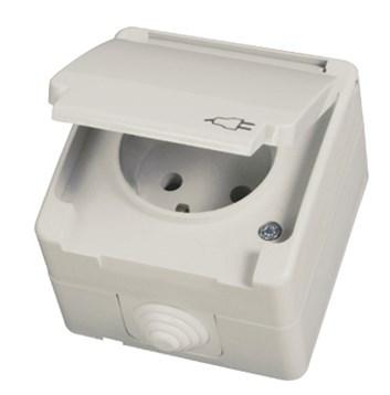 Zásuvka 2P s krytem a dětskou ochranou šedá Waterproof