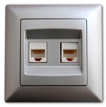 Dvojitá datová zásuvka Cat5 stříbrná Visage Ambience