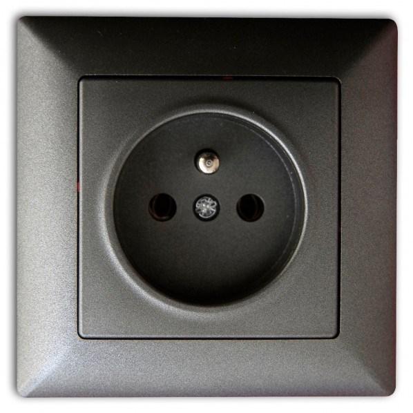 Jednoduchá zásuvka tmavě šedá metalická