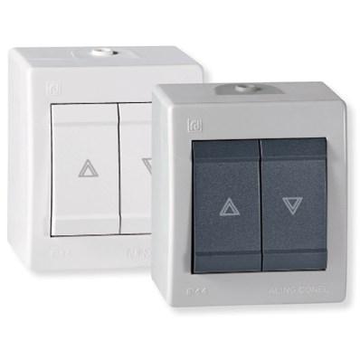 Tlačítkový spínač na ovládání žaluzií na povrch IP44 bílá