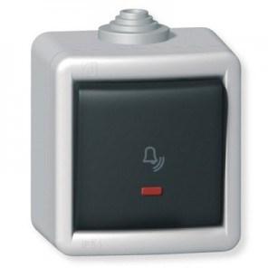 Tlačítko kovové na povrch s or. osvět., pikt. zvonek 10AX 250V~ IP55