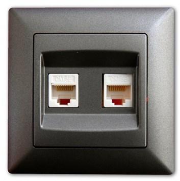 Dvojitá datová zásuvka Cat5 tmavě šedá Visage Ambience
