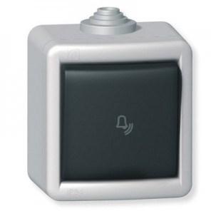 Tlačítko kovové na povrch s piktogramem zvonek 10AX 250V~ IP55