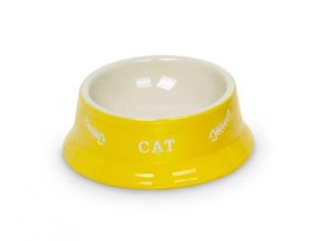Nobby Cat keramická miska 14 x 4,8 cm žlutá
