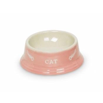 Nobby Cat keramická miska 14 x 4,8 cm růžová