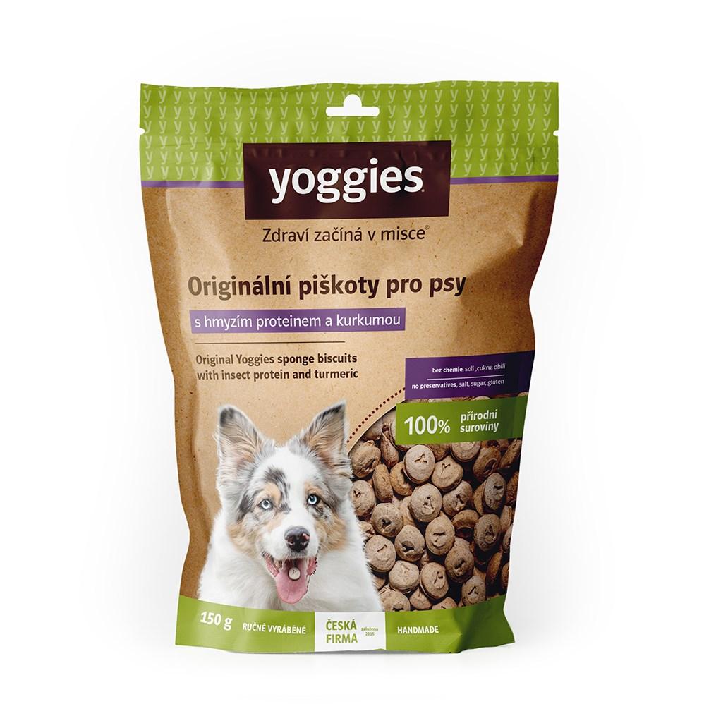 Yoggies hypoalergenní bezlepkové piškoty s hmyzím proteinem a kurkumou 150 g