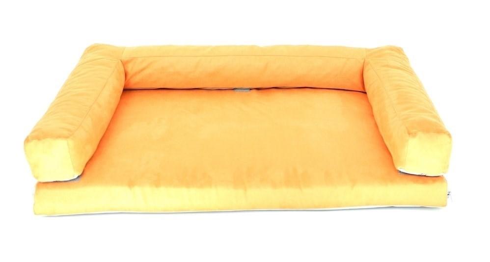 Aminela pelíšek s okrajem 80x60 cm Half and Half oranžová/šedá