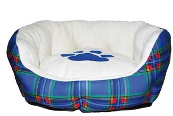 Pelíšek pro psy Scottish basket s tlapkou polstrovaný modrý vnitřní rozměr 40 cm/ vnější 50 cm